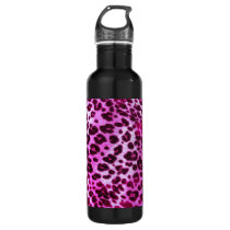 Abstract Pink Hipster Cheetah Animal Print Stainless Steel Water Bottle