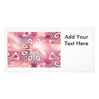 Abstract Pink Kaleidoscope with Swirls Photo Card