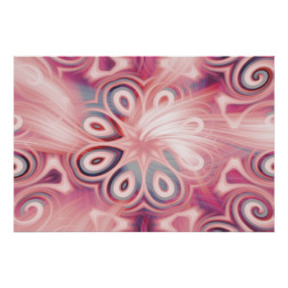 Abstract Pink Kaleidoscope with Swirls Poster