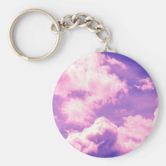 Abstract Pink Nebula Clouds Pattern Basic Round Button Keychain