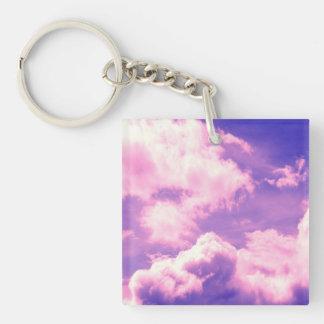 Abstract Pink Nebula Clouds Pattern Keychain