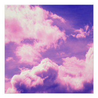 Abstract Pink Nebula Clouds Pattern Poster