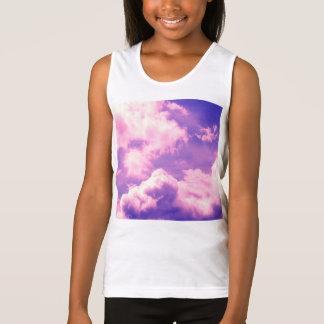 Abstract Pink Nebula Clouds Pattern Tank Top