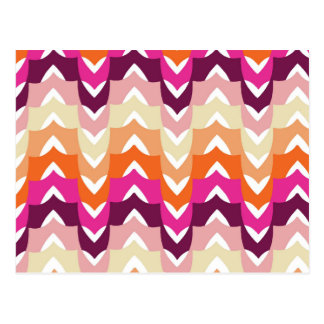Abstract Pink Orange Trendy Wave Stripes Postcard