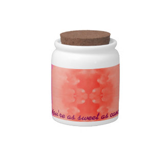 Abstract pink orange whimsical watercolor candy jar