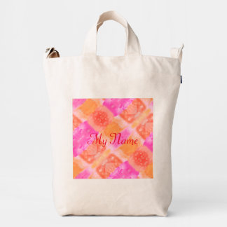 Abstract pink orange whimsical watercolor duck bag