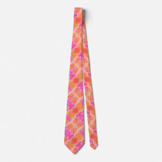 Abstract pink orange whimsical watercolor neck tie