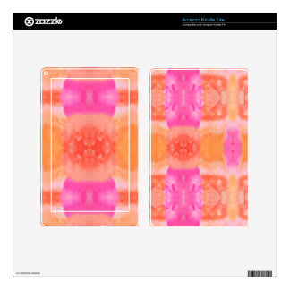Abstract pink orange whimsical watercolor skin for kindle fire