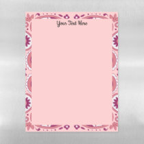 Abstract Pink Paisley Pattern Flowers Scallop Edge Magnetic Dry Erase Sheet