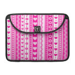 Abstract Pink pattern + dots flowers hearts Sleeve For MacBook Pro
