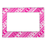 Abstract Pink pattern + dots flowers hearts Photo Frame Magnets