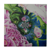 Abstract pink peony painting ceramic tile