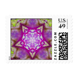 ABSTRACT PINK PURPLE FUCHSIA STAR POSTAGE