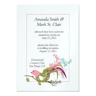 Abstract Pink Purple Green Bird Swirls Post W Card
