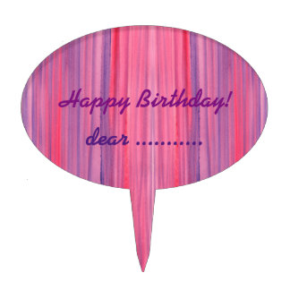 Abstract Pink Purple Watercolor Cake Topper