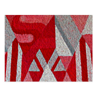 Abstract Pink, Red and Gray Mural Postcard