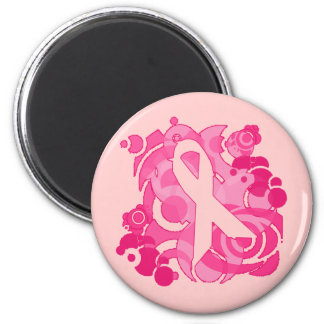 Abstract Pink Ribbon Products 2 Inch Round Magnet