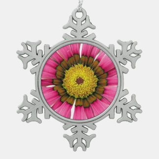 Abstract Pink Sunflower Snowflake Pewter Christmas Ornament