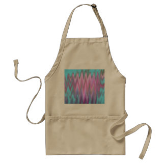 Abstract Pink Teal Girly Ikat Chevron Zigzag Adult Apron
