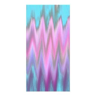Abstract Pink Teal Girly Ikat Chevron Zigzag Custom Photo Card
