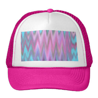 Abstract Pink Teal Girly Ikat Chevron Zigzag Trucker Hat
