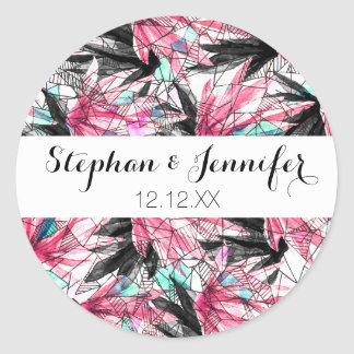 Abstract Pink Teal Leaves and Geometric Triangles Classic Round Sticker