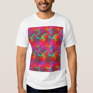 Abstract Pink Teal Red Fractal Pattern T Shirt