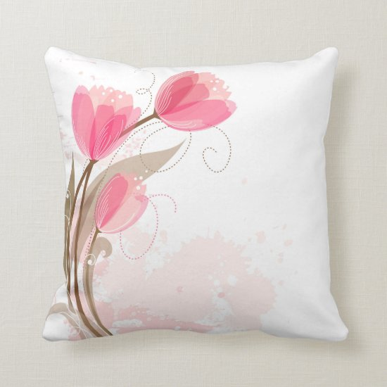 Abstract Pink Watercolor Tulips Throw Pillows