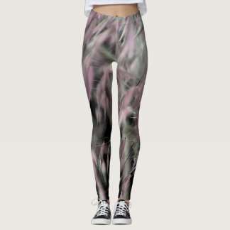 Abstract Pink Weeds and Green Grass on Grey Leggings