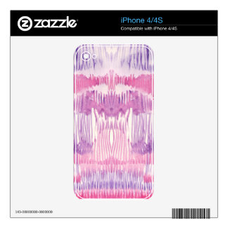Abstract pink whimsical watercolor striped pattern decals for the iPhone 4
