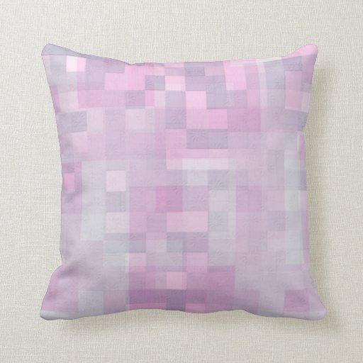 Abstract Pink White Grey Mosaic Pattern Pillows