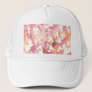 Abstract Pink White Watercolors Hearts Pattern Trucker Hat