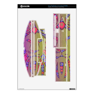 Abstract Pink Yellow lion Decals For The PS3