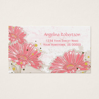 Abstract Pink Zinnias Flowers Pearlized ~TBA Business Card