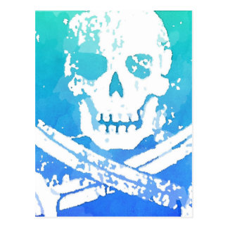 Abstract Pirate Skull and Swords Postcard