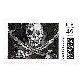 Abstract Pirate Skull and Swords Stamps