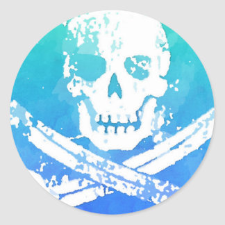 Abstract Pirate Skull and Swords Classic Round Sticker