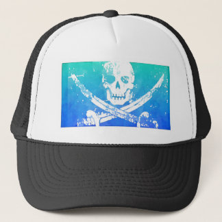 Abstract Pirate Skull and Swords Trucker Hat