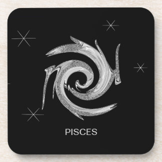 Abstract Pisces Zodiac Symbol Coasters