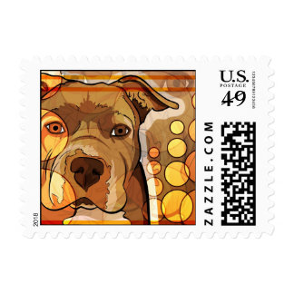 Abstract Pit Bull Art postage
