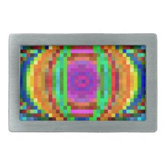 Abstract Pixel Art Colorful Mosaic Rectangular Belt Buckle