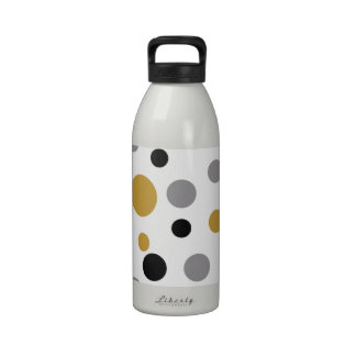 Abstract Polka Dot Design in Yellow/Gold Drinking Bottle