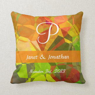 Abstract Polygons 101 Customizable Monogram Pillow