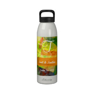 Abstract Polygons 12 Monogram Water Bottle