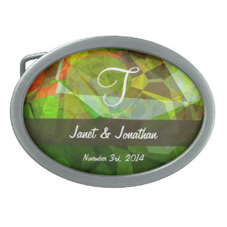 Abstract Polygons 158 Monogram Oval Belt Buckles