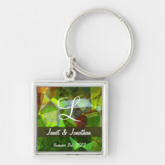 Abstract Polygons 160 Monogram Keychain