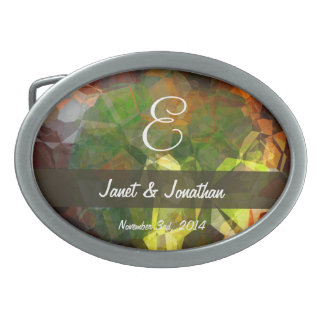 Abstract Polygons 1 Monogram Oval Belt Buckles