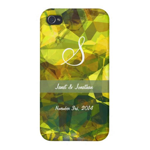Abstract Polygons 2 Monogram Cases For iPhone 4