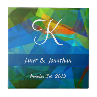 Abstract Polygons 39 Customizable Monogram Small Square Tile
