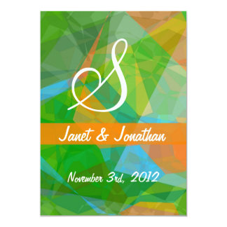 Abstract Polygons 43 Customizable Monogram Card